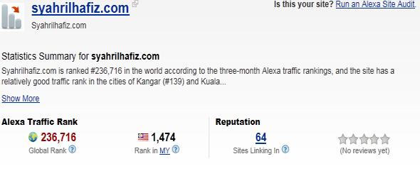 alexa rank, rank syahrilhafiz.com. pr 2